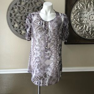 NY&Co sheer purple and grey reptile print blouse